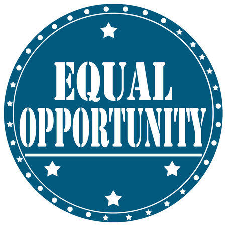 equal opportunity: Blue label with text Equal Opportunity,vector illustration Illustration