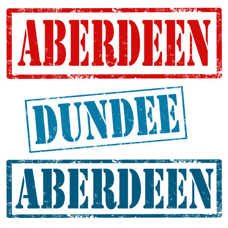 aberdeen: Set of grunge rubber stamps with text Aberdeen and Dundee,vector illustration