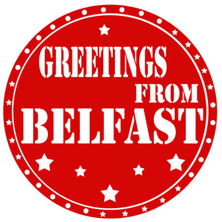 belfast: Red label with text Greetings From Belfast,vector illustration