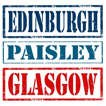 edinburgh: Set van grunge stempels met tekst Edinburgh, Paisley en Glasgow, vector illustratie