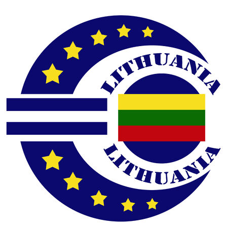 lithuania flag: Abstract label with text Lithuania, flag and euro sign,vector illustration