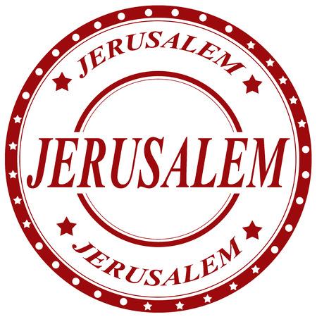 jeruzalem: Rubberen stempel met tekst Jeruzalem, vector illustratie
