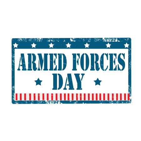 armed forces: Grunge rubber stamp with text Armed Forces Day,vector illustration
