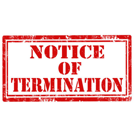 termination: Grunge rubber stamp with text Notice Of Termination