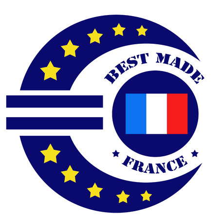 made in france: Label with text Best Made -France and abstract euro sign,vector illustration