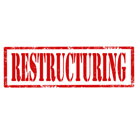 restructuring: Grunge rubber stamp with text Restructuring,vector illustration