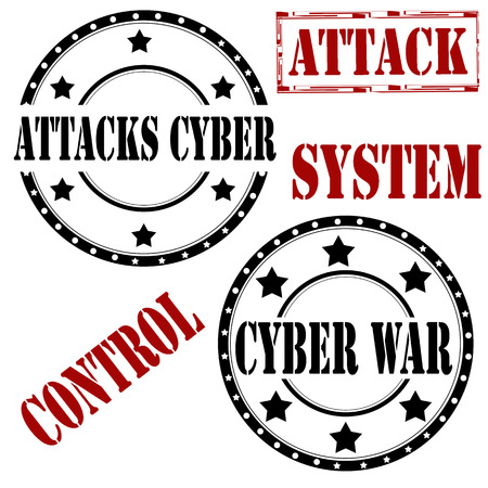 cyber war: Set of rubber stamps with text ,Attacks Cyber,Cyber War and Attack,vector illustration Illustration