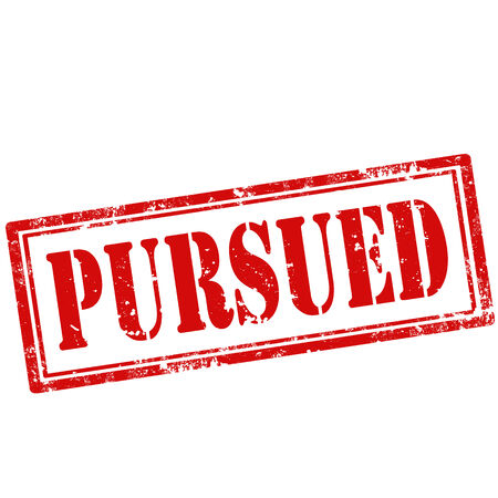 pursued: Grunge rubber stamp with text Pursued,vector illustration