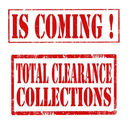 totales: Juego de sellos de goma del grunge con el texto se acerca y totales Liquidaci�n Colecciones, ilustraci�n vectorial Vectores