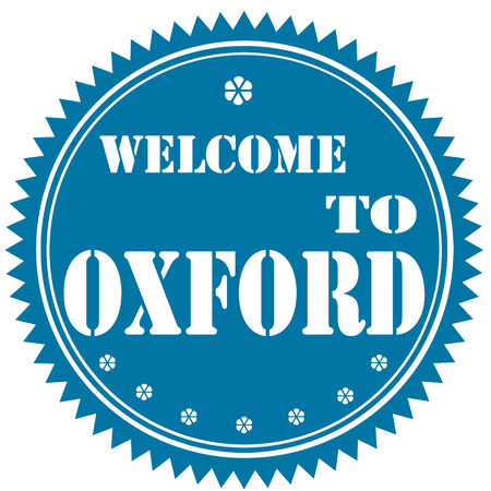 oxford: Blue label with text Welcome To Oxford,vector illustration Illustration