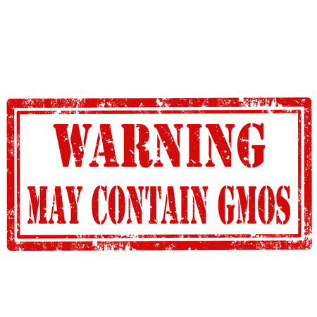 Grunge rubber stamp with text Warning May Contain GMOS
