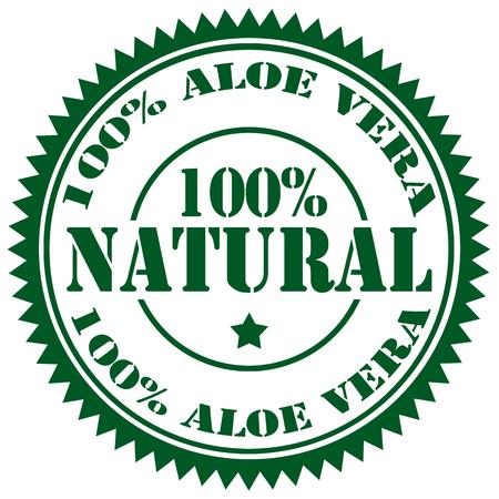 aloe vera: Rubber stamp with text 100% Aloe Vera