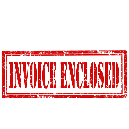 enclosed: Grunge rubber stamp with text Invoice Enclosed