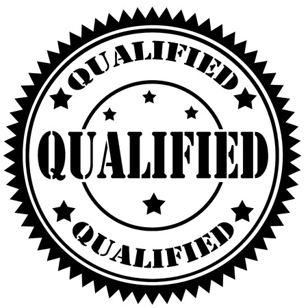 qualified: Black rubber stamp with text Qualified