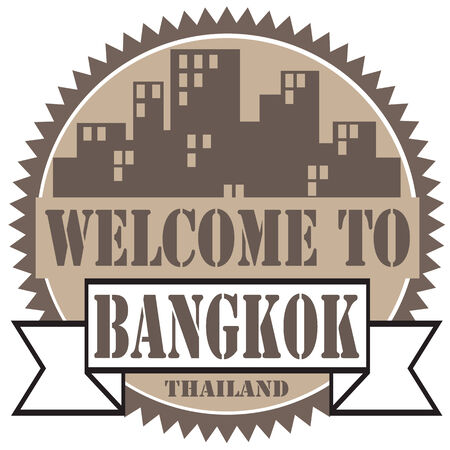 bangkok city: Label with text Welcome To Bangkok,illustration Illustration