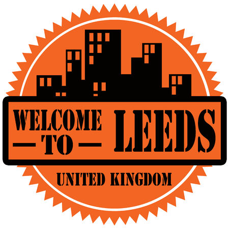 leeds: Label with text Welcome To Leeds illustration