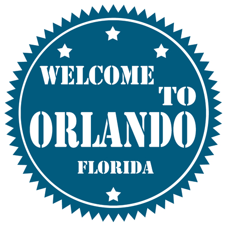 orlando: Blue label with text Welcome To Orlando,vector illustration Illustration