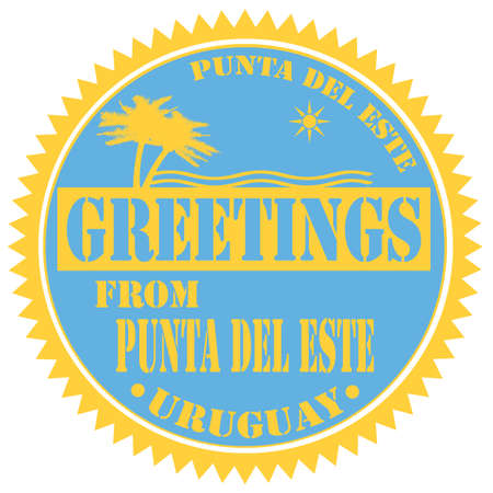 del: Label with text Greetings From Punta Del Este,