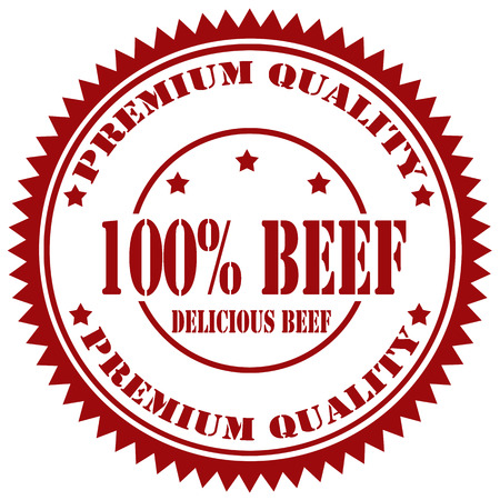 Rubber stamp with text 100  Beef,illustration
