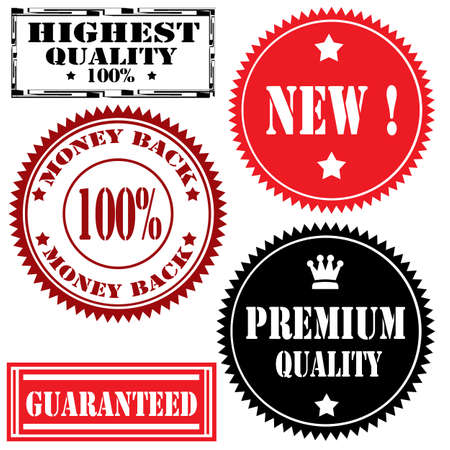 highest: Set of stamps with text Highest Quality,New,Premium Quality and Guaranted,illustration Illustration