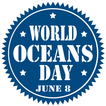 Blue label with text World Oceans Day,illustration Vector