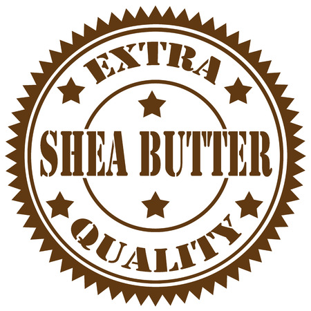 Rubber stamp with text Shea Butter,illustration