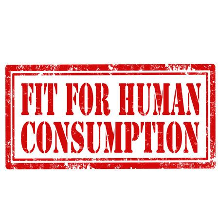 消費: グランジ テキスト フィットの人間の消費、ベクター画像とスタンプ