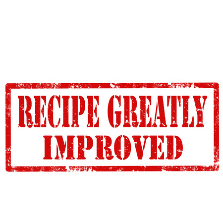 improved: Grunge rubber stamp with text Recipe Greatly Improved,vector illustration Illustration