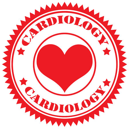 Red rubber stamp with text Cardiology,vector illustration