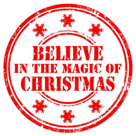 Grunge rubber stamp with text Believe In The Magic Of Christmas,vector illustration