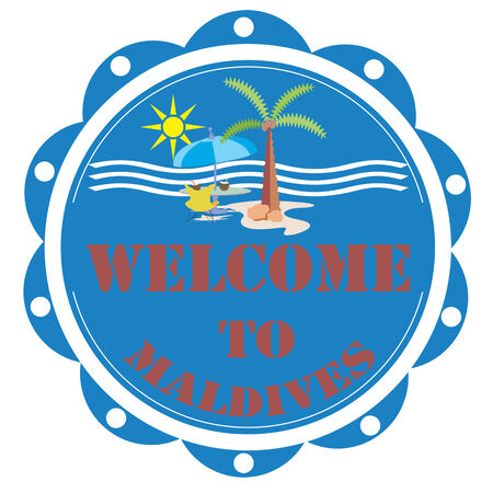 maldives island: Label with text Welcome To Maldives,vector illustration