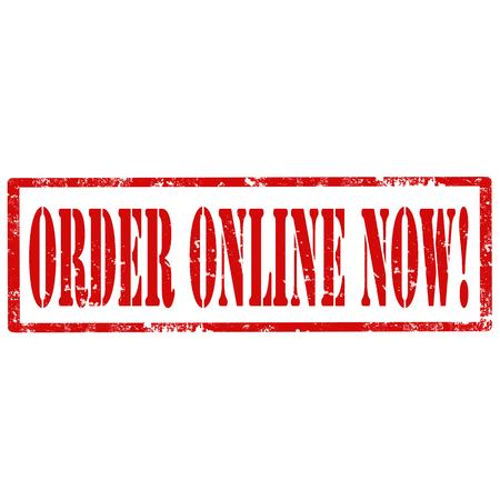 order online: Grunge rubber stamp with text Order Online Now,vector illustration