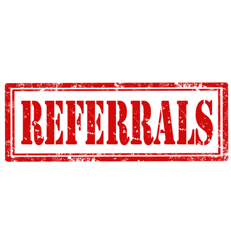 referrals: Grunge rubber stamp with text Referrals,vector illustration