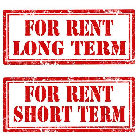 long term: Conjunto de sellos de goma del grunge con el texto para renta a largo plazo y para la ilustraci�n Renta a Corto Plazo