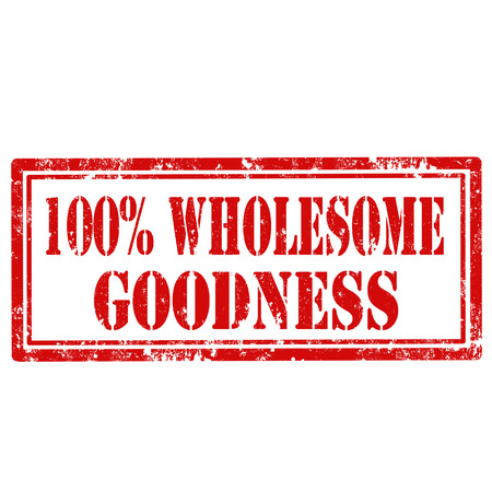 goodness: Grunge rubber stamp with text 100  Wholesome Goodness,vector illustration