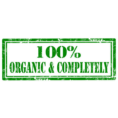 completely: Grunge rubber stamp with text 100% Organic & Completely,vector illustration