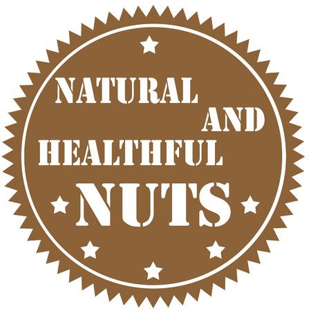 healthful: Etiqueta con texto nueces- Natural y saludable, ilustraci�n