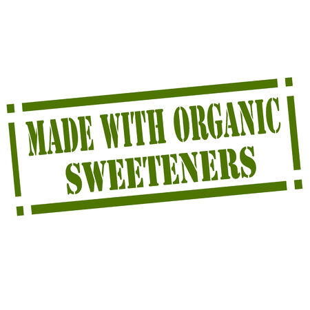 sweetener: Green rubber stamp with text Made With Organic Sweeteners,illustration
