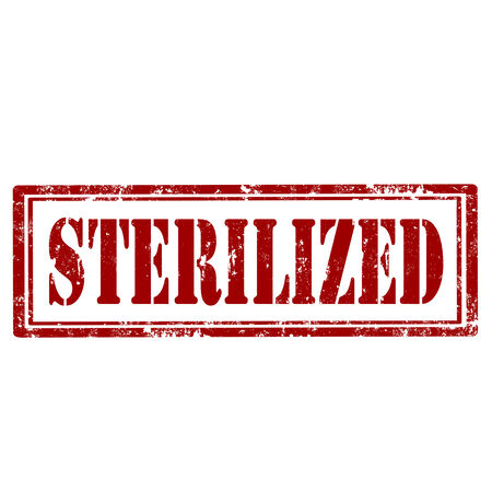 sterilized: Grunge rubber stamp with text Sterilized,illustration