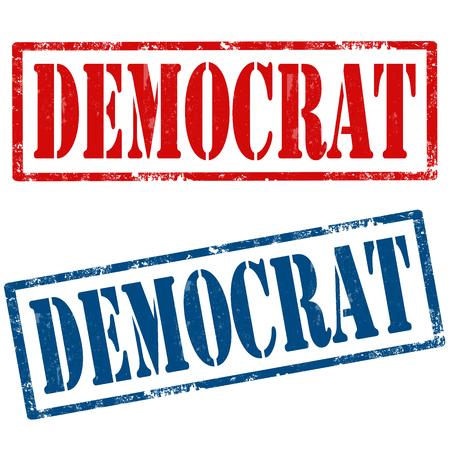 democrat: Set of grunge rubber stamps with text Democrat,vector illustration