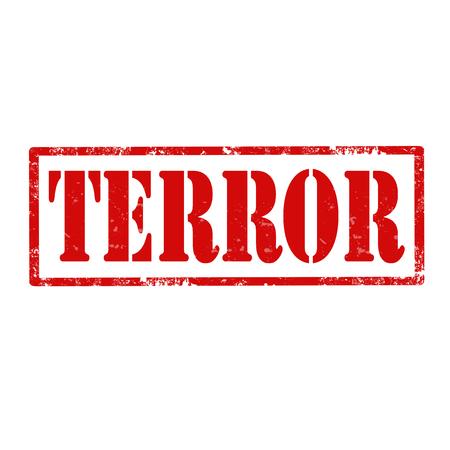 terror: Grunge rubber stamp with text Terror Illustration