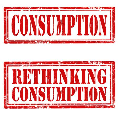 消費: グランジ テキスト消費量と消費量の再考のゴム製のスタンプのセット  イラスト・ベクター素材