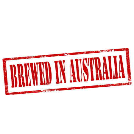 fabricate: Grunge rubber stamp with text Brewed In Australia,vector illustration Illustration