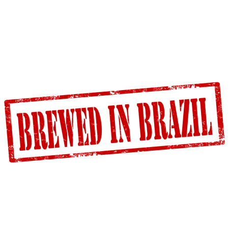 brewed: Grunge rubber stamp with text Brewed In Brazil,vector illustration