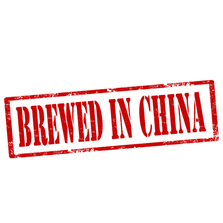 brewed: Grunge rubber stamp with text Brewed In China,vector illustration