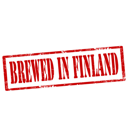 fabricate: Grunge rubber stamp with text Brewed In Finland,vector illustration Illustration