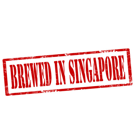 brewed: Grunge rubber stamp with text Brewed In Singapore,vector illustration