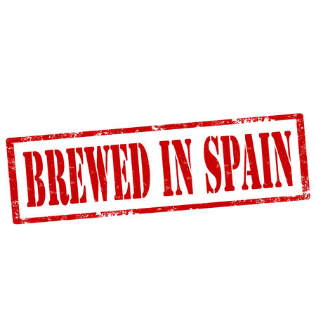 brewed: Grunge rubber stamp with text Brewed In Spain,vector illustration