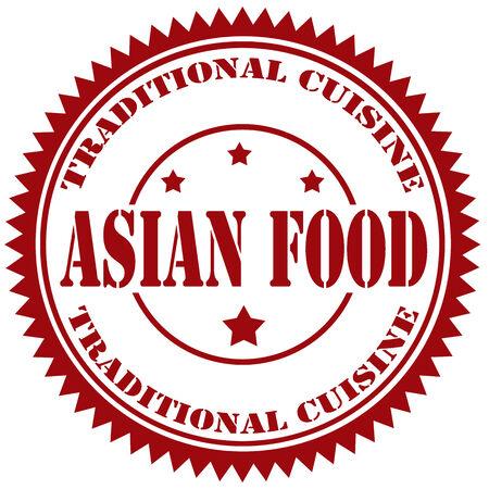 Sello de goma con el texto Asian Food, ilustración vectorial