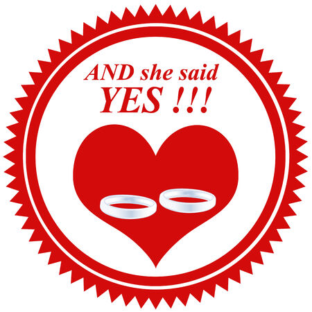 Red rubber stamp with text And she say Yes, and one heart and two rings,vector illustration